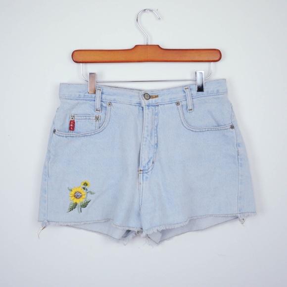 4a81f94217 lei Shorts | Vintage 90s Denim Sunflower High Waist | Poshmark